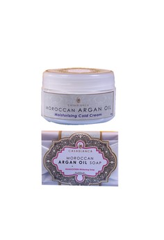 Moroccan Argan Oil Moisturizing Cold Cream 100g with Moroccan Argan Oil Mangosteen Whitening Soap 135g Bundle