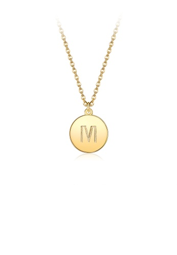 Glamorousky silver Fashion Simple Plated Gold Letter M Round Pendant with Necklace C3C18AC59C2C77GS_1