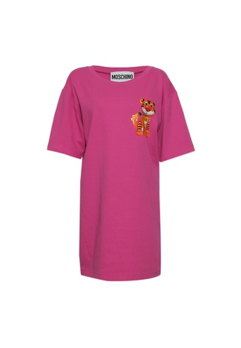 MOSCHINO pink Moschino Ribboned Elastic Tiger Printed Sweatshirt in Fuchsia 82237AA68FA699GS_1