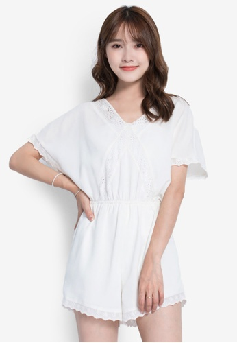 YOCO white V-Neck Butterfly Sleeve Jumpsuit YO696AA0S1C0MY_1