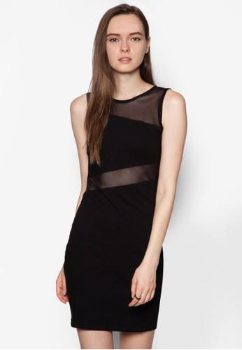 紡紗拼接貼身洋裝, zalora 心得 ptt服飾, 洋裝