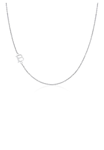 Moody Mood silver .925 Sterling Silver Sideway Letter B Necklace (18k white gold plating) 931C9ACDE1D367GS_1