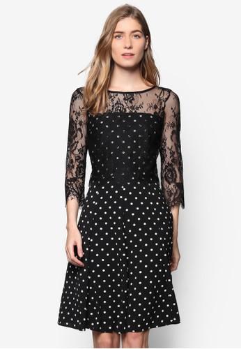 蕾絲點點印花esprit hk長袖修身洋裝, 服飾, 洋裝