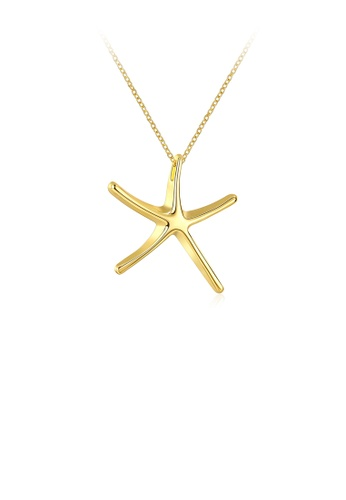 Glamorousky silver Fashion Simple Plated Gold Star Pendant with Necklace C72CDAC00FA753GS_1