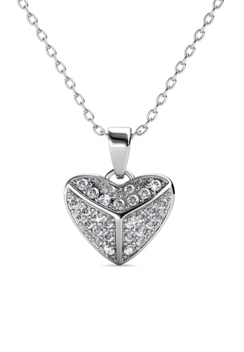Her Jewellery silver Shield Heart Pendant -  Made with premium grade crystals from Austria HE210AC0GPWKSG_1