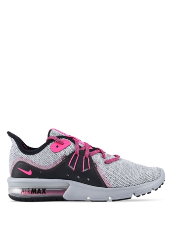 Nike black and grey and pink Women's Nike Air Max Sequent 3 Running Shoes 8B289SH3FF00AAGS_1