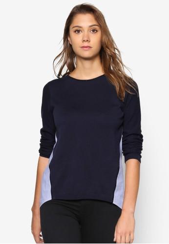 色塊棉質長袖esprit 折扣衫, 服飾, 服飾