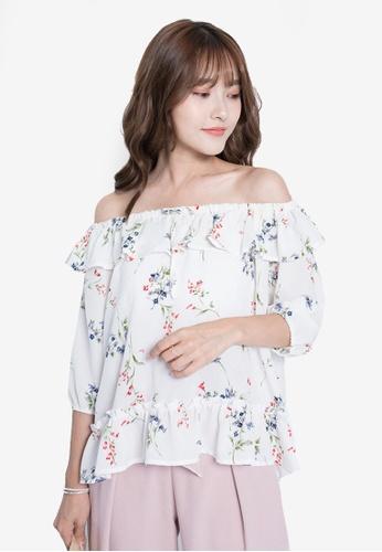 Yoco white Floral Off-Shoulder Top 5AC1CAA733FD2FGS_1
