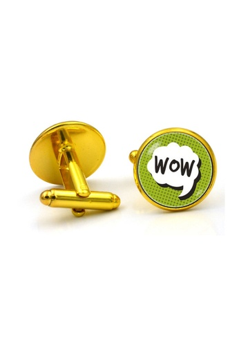 Kings Collection gold WOW Gold Round Cufflinks (KC10177) 92A6AAC3CE1346GS_1