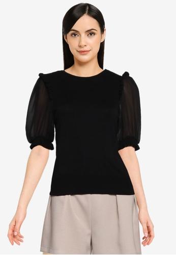 Vero Moda black Glada 2/4 Sleeves Blouse A0F31AA2762D26GS_1