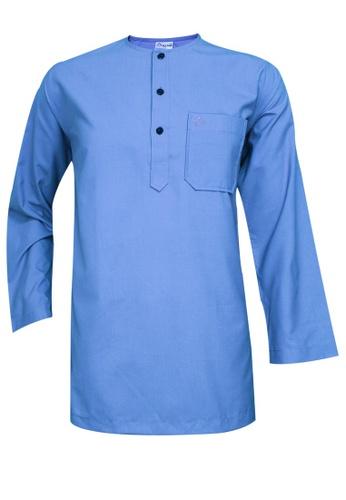 SULTAN blue SULTAN KURTA LELAKI / MEN'S - PRESIDENT - ROUND NECK FULL SLEEVES 9589CAA3E296B2GS_1