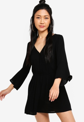Something Borrowed black Flare Sleeves Playsuit 31FC8AA0646238GS_1