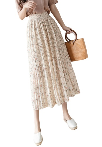 Halo beige Floral Printed Pleat Skirt D5BEDAAC07962AGS_1