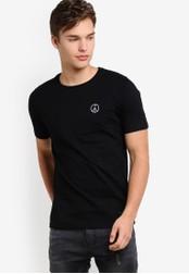 Flesh IMP black Embroidered Peace Everybody T-Shirt FL064AA02NXPMY_1