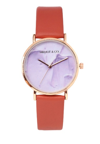 Milliot & Co. red Josie Rose Gold Leather Strap Watch 382E2AC3A7376CGS_1