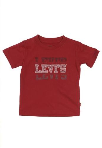 Levi's Kids red LEVIS Little Boys Short Sleeve Levis Stack Split T-Shirt 4D893KA01C8061GS_1