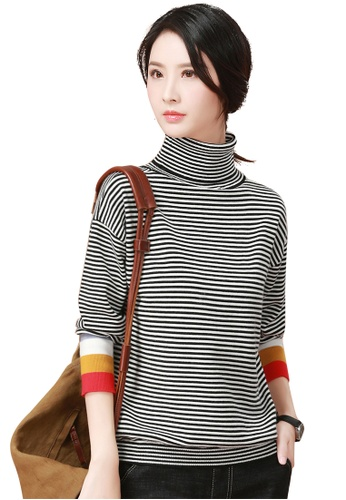 A-IN GIRLS black and white Contrast Striped High Neck Sweater  584FFAA2403AB8GS 1 3a245cfba25