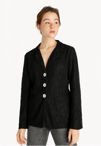 Pomelo black Lace Button Up Pyjama Shirt - Black 0DC61AA37DAAAFGS_1