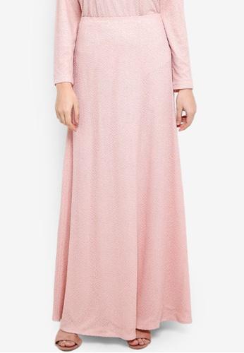 Zalia pink Lace Asymmetric Panel Skirt 67938AA79BD5FEGS_1