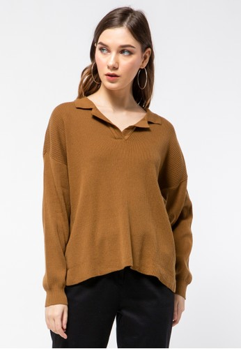 et cetera brown V-neck Sweater 933C9AACC1026BGS_1