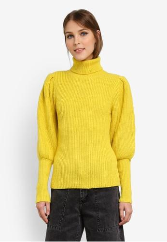 WAREHOUSE yellow Ribbed Puff Sleeve Jumper WA653AA0SCTKMY_1
