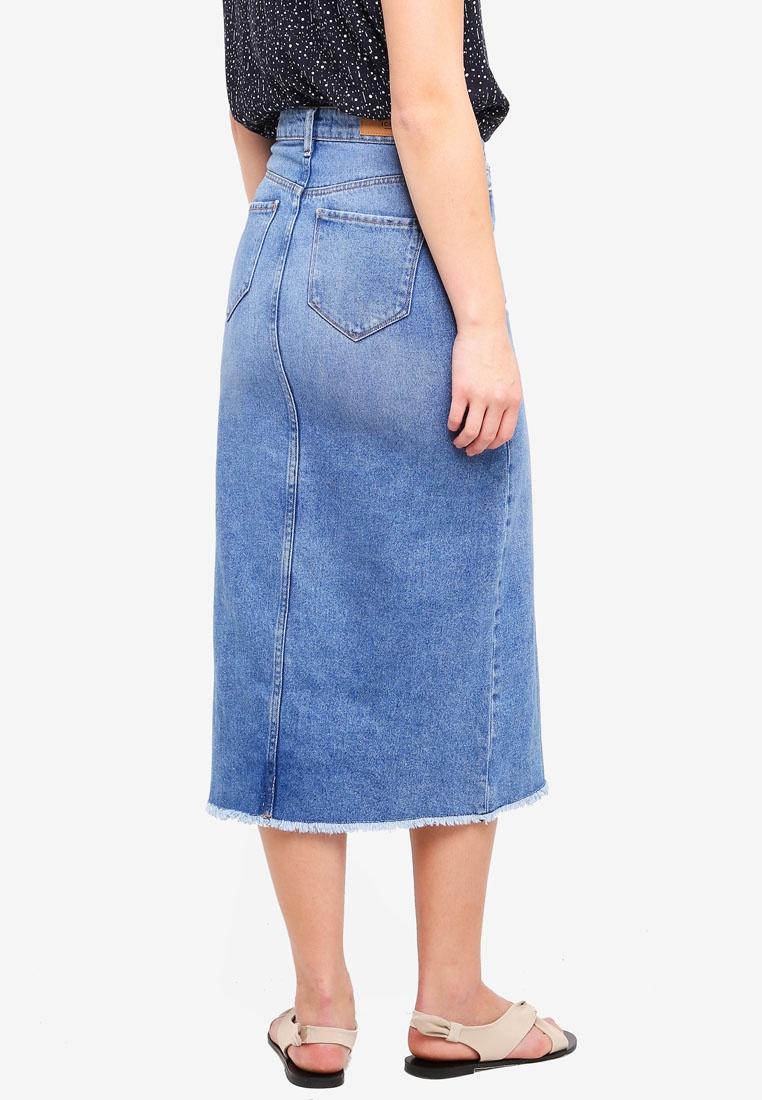 Mid Skirt Gulip Authentic ICHI Blue Midi wxYIpBq1