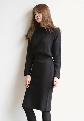經典黑色針esprit 衣服織連衣裙, 服飾, 及膝洋裝