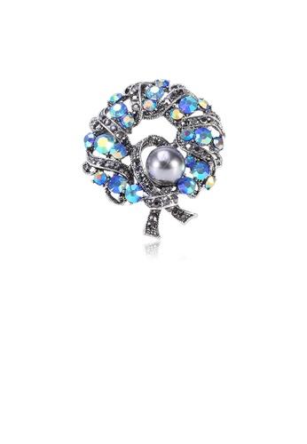 Glamorousky grey Elegant Geometric Wreath Imitation Pearl Brooch with Blue Cubic Zirconia E9DA7ACA9EA3C2GS_1