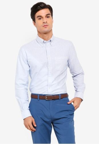 Brooks Brothers blue Red Fleece Oxford Diagonal Fun Shirt D0105AA6705F20GS_1
