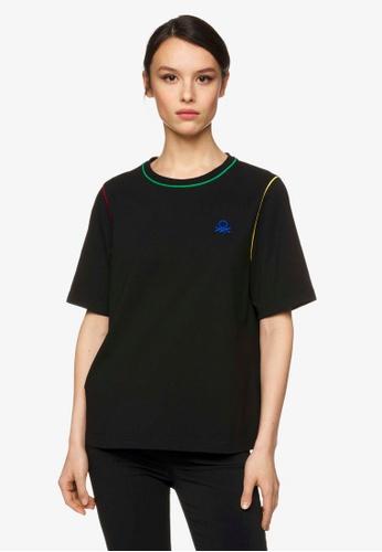 United Colors of Benetton 黑色 繡線配色短袖純棉T 9532BAAD981EE0GS_1