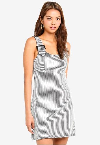 Miss Selfridge black Monochrome Buckle Strap Pinny Dress F6676AA40321F0GS_1