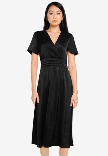 ZALORA BASICS black Satin Wrap Midi Dress 006B9AA0EF748EGS_1