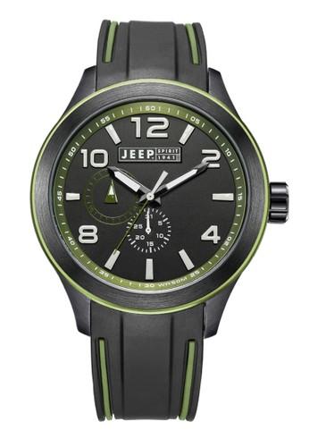 Jeep Spirit Mutifunction Men's Watch JPS80104 Green Black Silicone