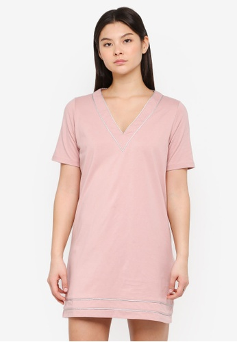 Something Borrowed pink Contrast Piping Tee Dress 0F753AA7171374GS_1