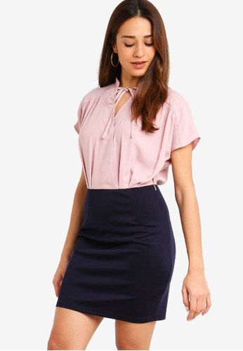 ZALORA pink and multi Bow Work Dress 904E3AACEA9153GS_1