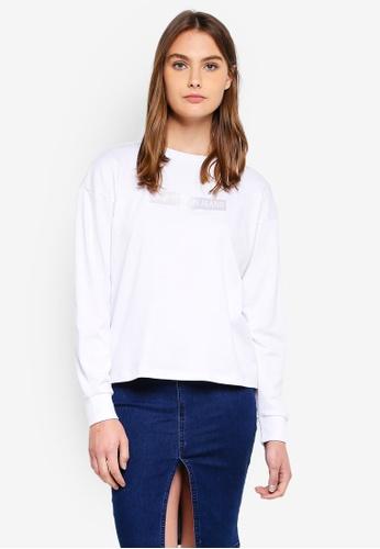 Calvin Klein 白色 長袖LOGO印花T恤 F2DE0AA3345447GS_1