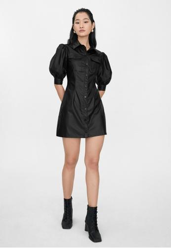 Pomelo black Faux Leather Puff Sleeve Dress - Black 9E978AA83450C6GS_1