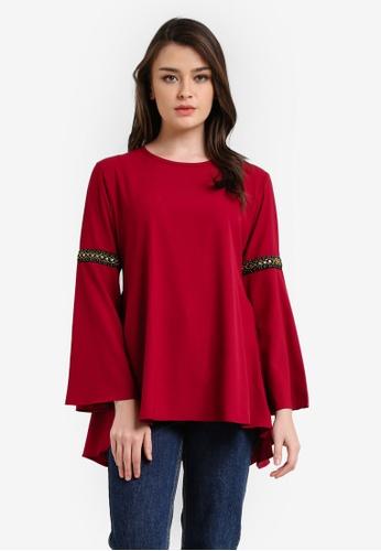 Aqeela Muslimah Wear red Qhalisha Blouse AQ371AA0RT91MY_1