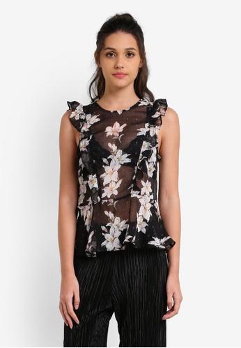 Miss Selfridge black Dark Floral Dobby Shell Top MI665AA0RX9PMY_1