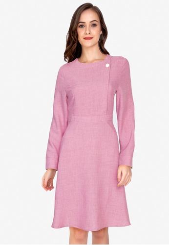 ZALORA WORK pink Brooch Detail Long Sleeve Dress AB346AA7607195GS_1