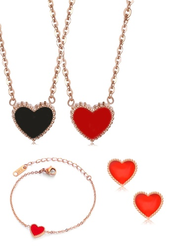 CELOVIS black and red and gold CELOVIS - Esme Heart-Shaped Black&Red Pendant Necklace + Bracelet + Red Earrings Set E755CAC012B51AGS_1