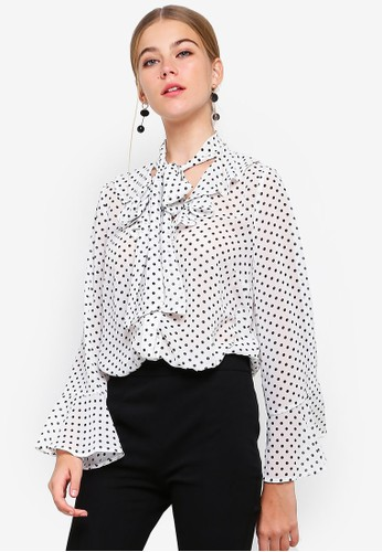 bYSI white Dotted Neck Tie Blouse D5FD5AABCBC4B6GS_1
