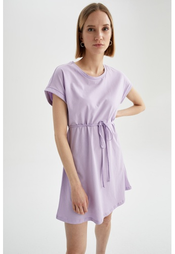 DeFacto purple Short Sleeve Mini Dress 0C531AA0819572GS_1
