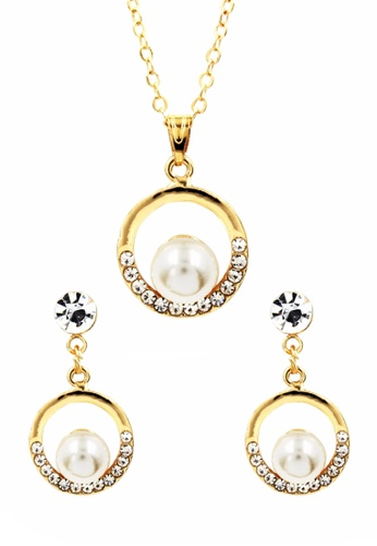 Venice Jewelry Gold Pearl Drop Necklace And Earrings Set Ve564ac0ijmnph 1