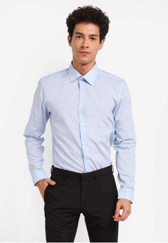Burton Menswear London blue Essential Blue Slim Shirt B36FAAA4AA007CGS_1