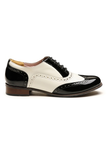 Byford black and white and multi James Brogue Oxford Shoes E8850SHB50FA14GS_1