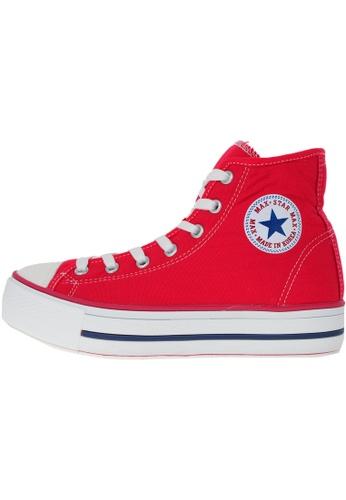 Maxstar 紅色 新款韩国鞋C30-Taller時尚帆布布混合女紅色 US Women Size MA345SH36HDJTW_1