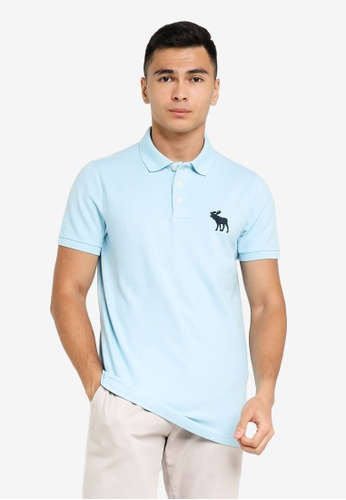 ABERCROMBIE & FITCH blue Exploded Icon Polo Shirt AC454AA7A43511GS_1