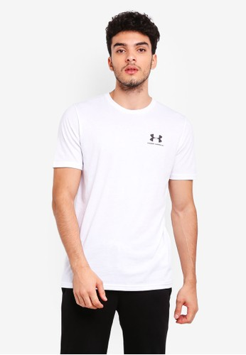 Under Armour white Sportstyle Left Chest Short Sleeve Tee F2238AA5F3CE85GS_1
