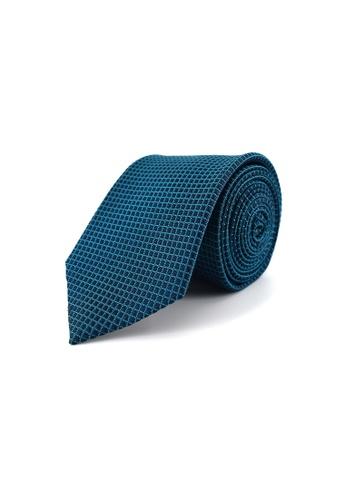 Gay Giano blue Checked Silk Tie 649C8AC8E73DE7GS_1